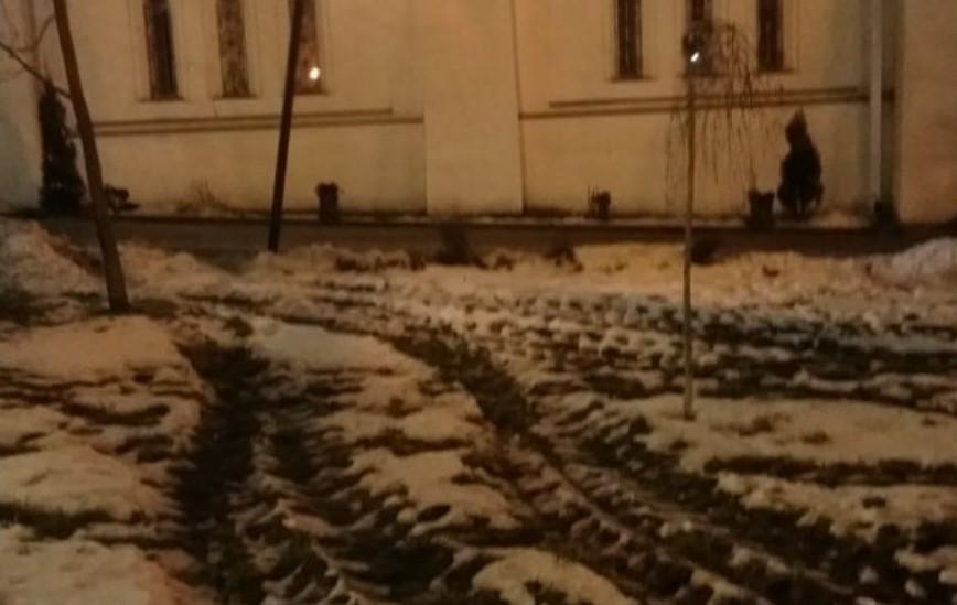 Фото Троицкого сквера: неизвестный раскатал газон и повредил фонарь