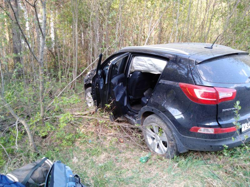 Авария у деревни Лесное: Mercedes врезался в дерево